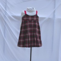 Heart and Flower Gray Corduroy/Pink, Green and Black Plaid – Size 4