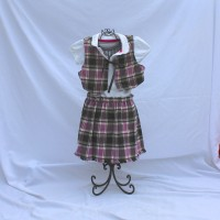Purple and Black Plaid/Colorful Brushstrokes on Dark Purple Reversible Vest and Skirt – Size 3