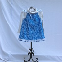 Snow Flurry with Lace/White with Blue Rickrack Reversible Tie Shoulder Dress – Size 2