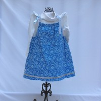 Blue Snow Flurry with Silver Trim/Bright White with Pouch Reversible Tie Shoulder Dress – Size 3