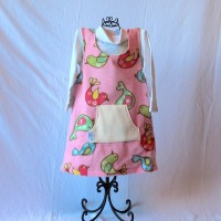 Pink, Blue, and Green Birds/Green with White Polka Dots Reversible Fleece Dress – Size 3