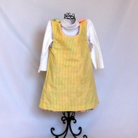 Blue, Green, and Pink Birds/Pastel Squares on Yellow Reversible Fleece Dress – Size 3