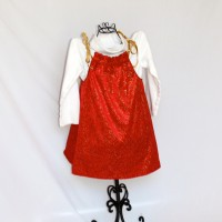 Christmas Plaid/Red with Gold Swirls Reversible Tie Shoulder Dress – Size 2