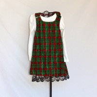 Red and Green Metallic Plaid/Soft Solid Red Reversible Crossback Jumper – Size 3