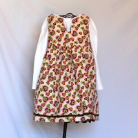 Deer, Rabbits, Owls, Mushrooms, Leaves, Flowers, and Hearts Purple Corduroy/Pink, Aqua, Green, Orange, and Brown Hearts on Ivory Reversible V-necked Twirly Dress – Size 3