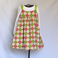 Colorful Fat Birds/Pink and Green Corduroy Argyle Reversible Twirly Dress – Size 4