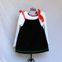 Pumpkin and Ghost on Green/Black Corduroy with Green Rickrack Trim – 12-18 months