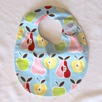 Pink, Red, Yellow and Green Apple and Pear Cotton Bib
