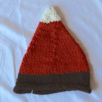 Brown, Orange and White Candy Corn Knit Hat