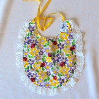 Purple and Yellow Flowers with Ladybugs/Textured Yellow with White Lace Cotton Bib
