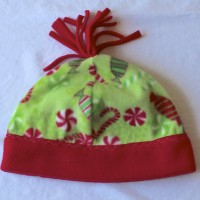Christmas Candies Fleece Hat with Red Rim