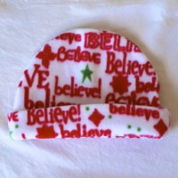 """Believe"" Red and White Fleece Hat"