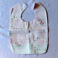 White Lace with Flowers Wipeable Bib