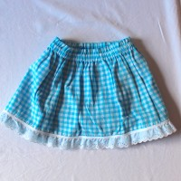 Aqua Flowers/Light Blue Gingham – Size 12 – 24 months