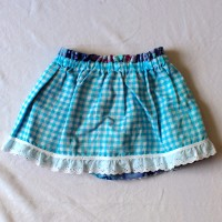 Blue Gingham/Purple Batik Reversible Skirt – Size 12 – 24 months