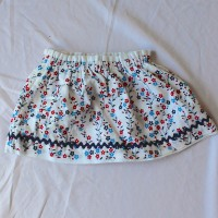 Red and Blue Flowers/White with Red Reversible Skirt – Size 12 – 24 months