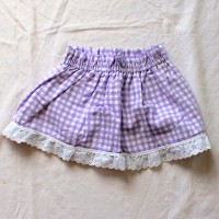 White and Purple Gingham Reversible Skirt – Size 12 – 24 months