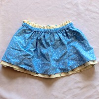 Tiny Rosebuds/Small Blue Flowers Reversible Skirt – Size 12 – 24 months