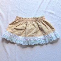 Green Eyelet/Light Brown Brick Reversible Skirt – Size 12 – 24 months