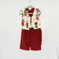 Dark Red and Teddy Bear Vest and Pants – Size 2, 3