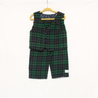 Navy, Green, and Black Plaid Flannel Vest and Pants – Size 3