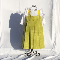 Sunflower, Hearts, Pumpkins/White Dots on Green Pleated Reversible Dress – Size 3