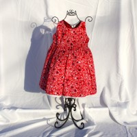 White and Blue Flowers on Red/White Textured Reversible Twirly Dress – Size 2