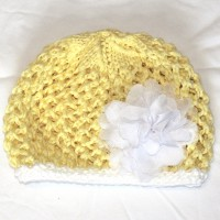 Yellow and White Beanie with White Carnation