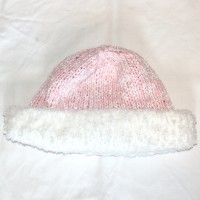 Pink and White Hat with Brim