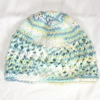 Pale Blue, Green, Yellow, and White Beanie
