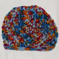 Cranberry, Amber, and Blue Beanie