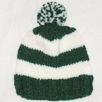 Green and White Beanie with Pom Pom