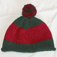 Red and Green Beanie with Pom Pom