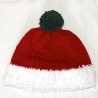 Red and White Hat with Green Pom Pom