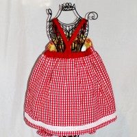 Red Butterflies on Yellow/Red and White Gingham Reversible V-Back Dress – Size 2