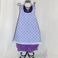 Blue and Purple Plaid/Purple Polka Dots Reversible Smock – Size 3