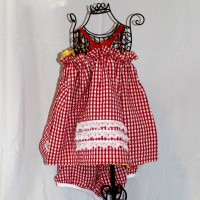 Yellow with Red Butterflies/Red Gingham Reversible Ruffle V-Back Dress – Size 2