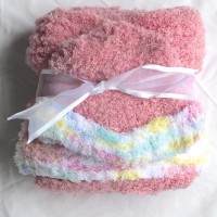Knit Pink and White Baby Blanket and Hat