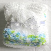 White with Blue and Green Trim Baby Blanket and Hat