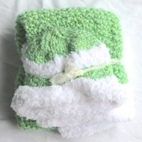 Green and White Knit Baby Blanket and Hat