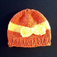 Bow Beanie – Orange and Yellow