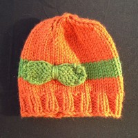 Bow Beanie – Orange and Green